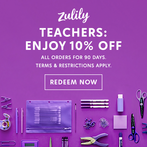 Teachers receive an additional 10% off your Zulily purchases for 90 days! Click here for more information!